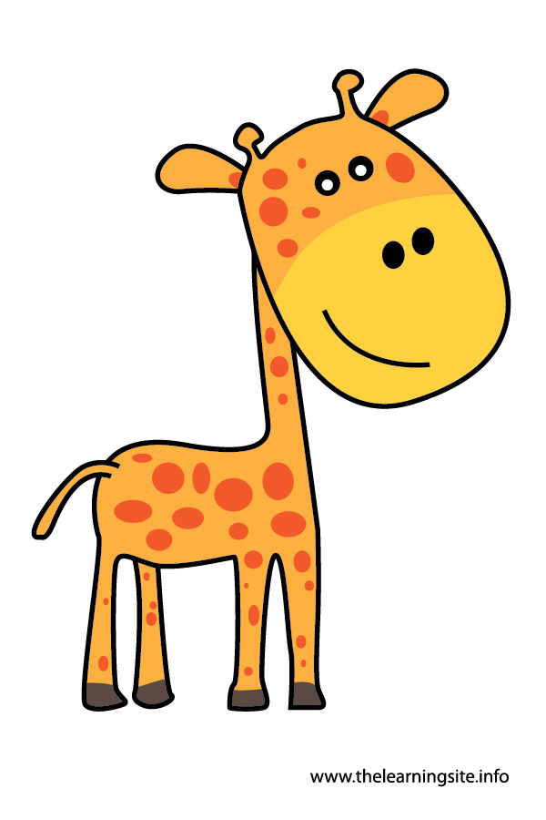 giraffe animal flashcard and clip art