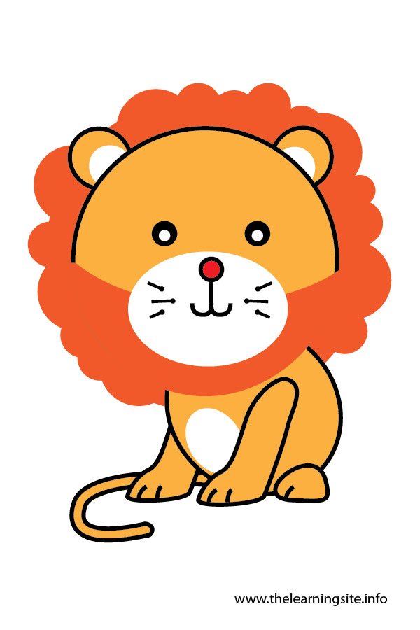 lion animal flashcard and clip art