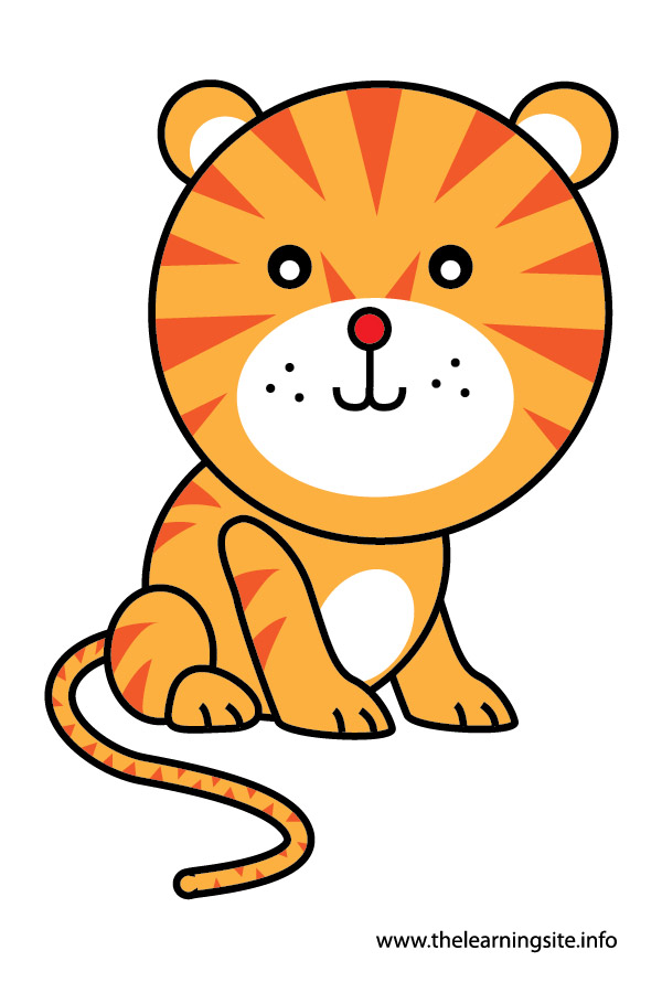 tiger animal flashcard and clip art