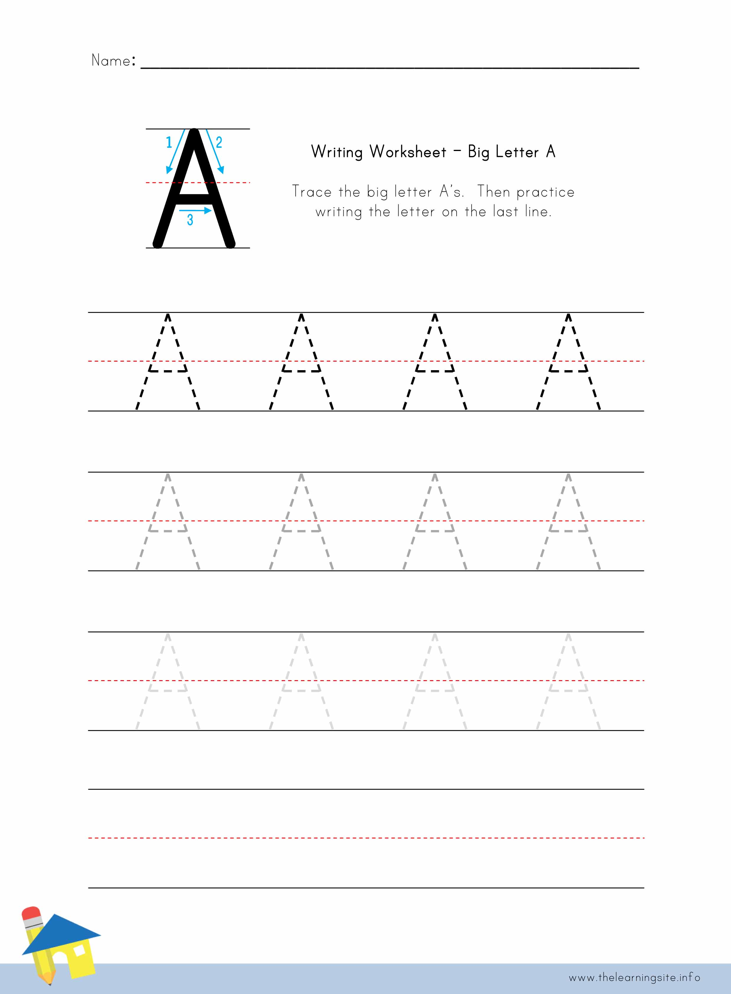 The Learning Site – Letter a Worksheet