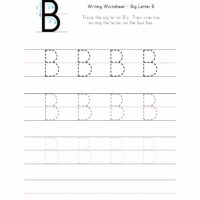 Big Letter B Writing Worksheet