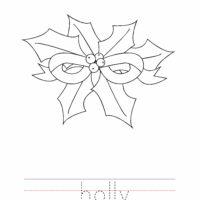 Christmas Holly Coloring Worksheet
