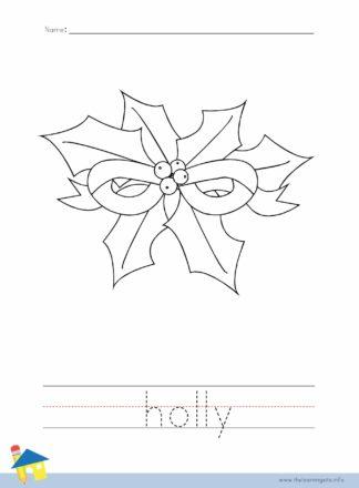 Christmas Holly Coloring Worksheet