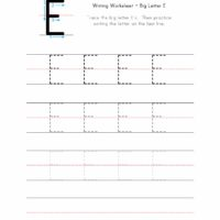 Big Letter E Writing Worksheet