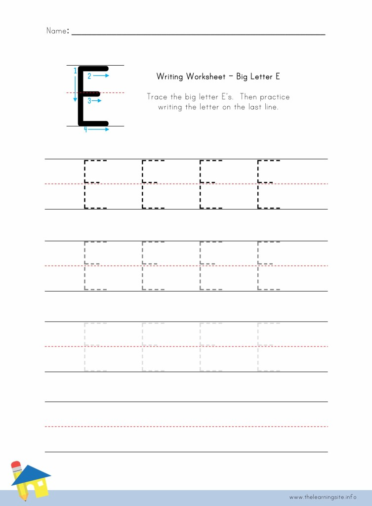 Big Letter E Writing Worksheet