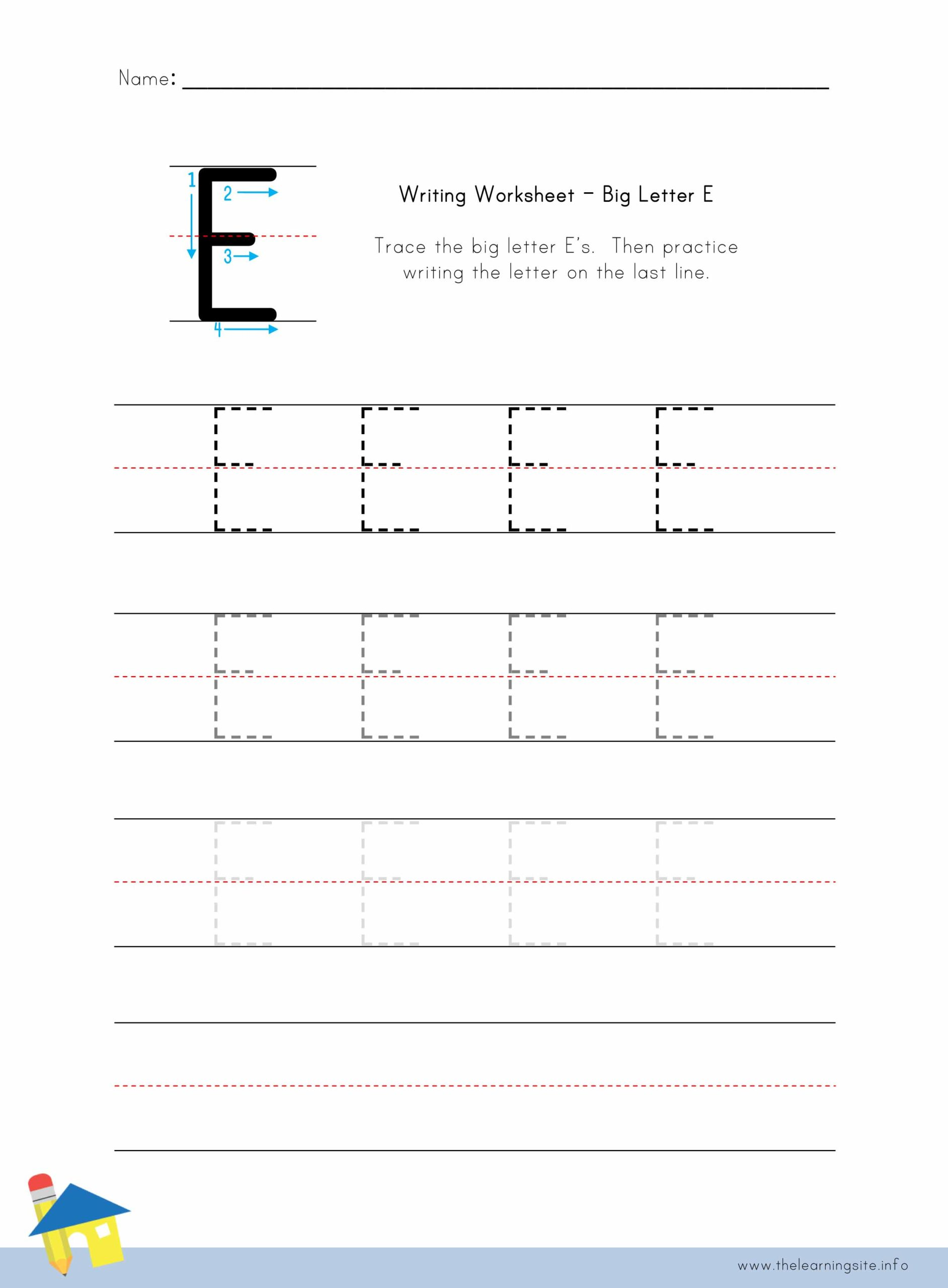 - Big Letter E Writing Worksheet – The Learning Site