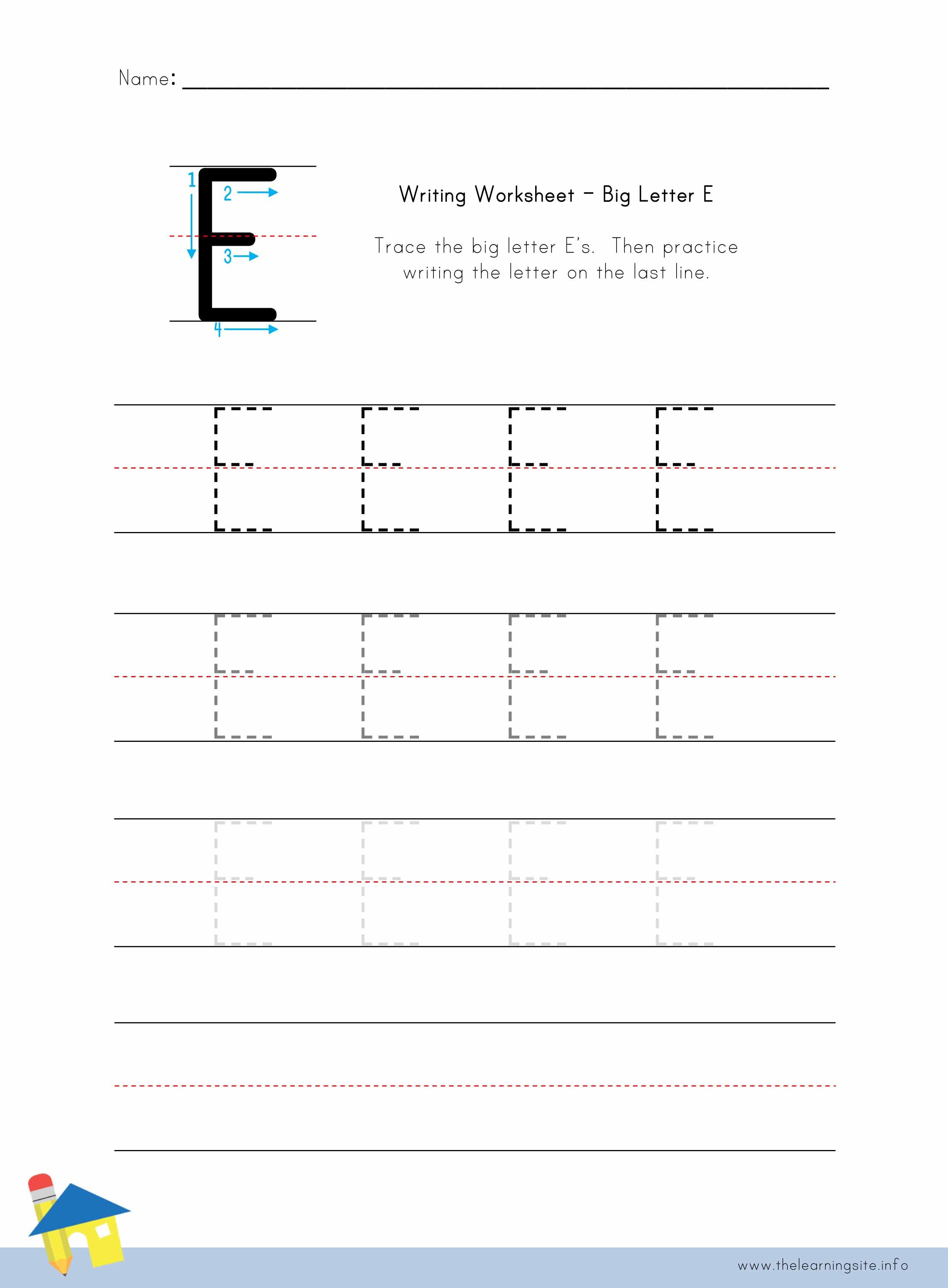 worksheet Letter E Worksheet the learning site big letter e writing worksheet