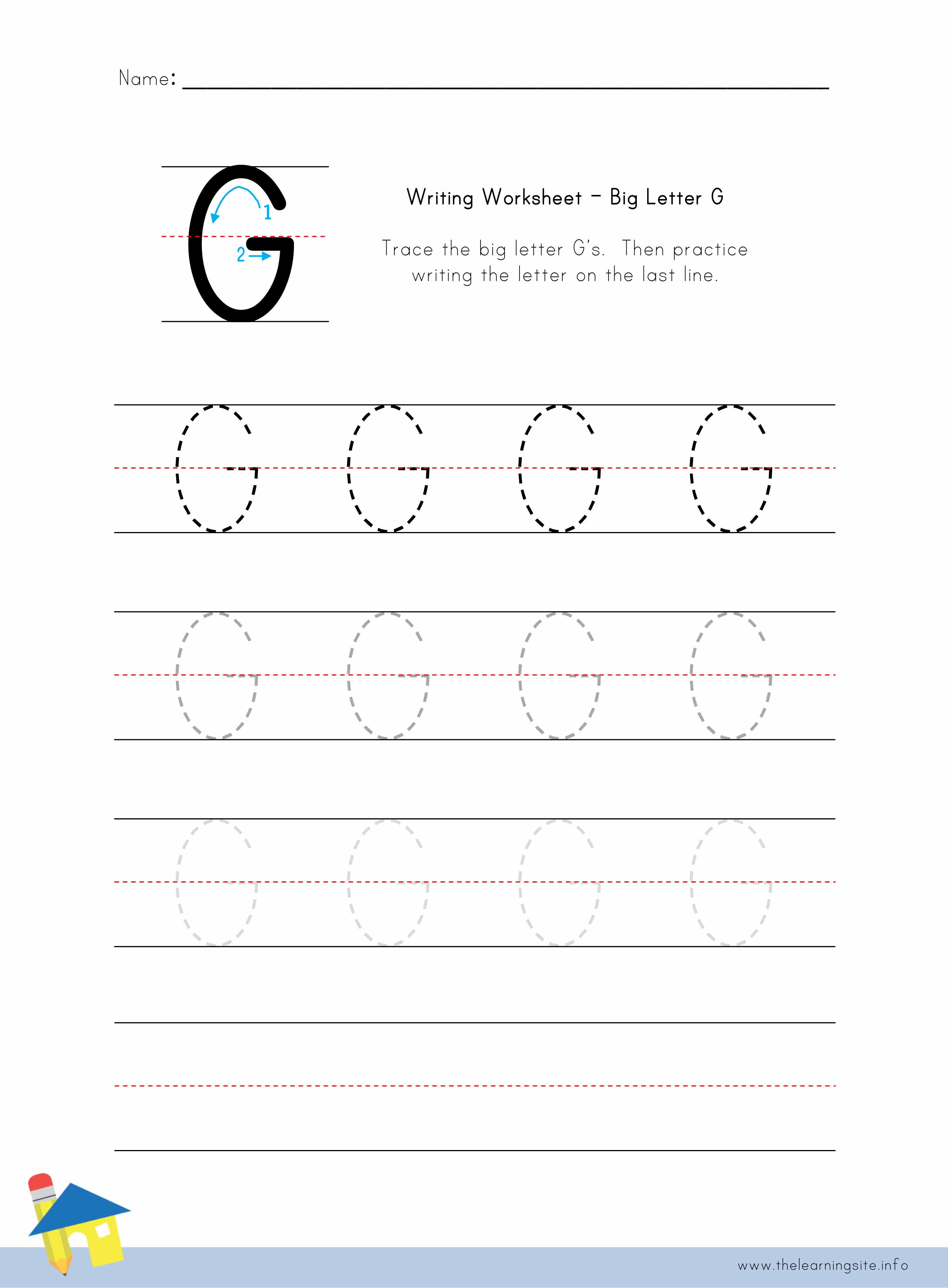The learning site big letter g writing worksheet ibookread PDF