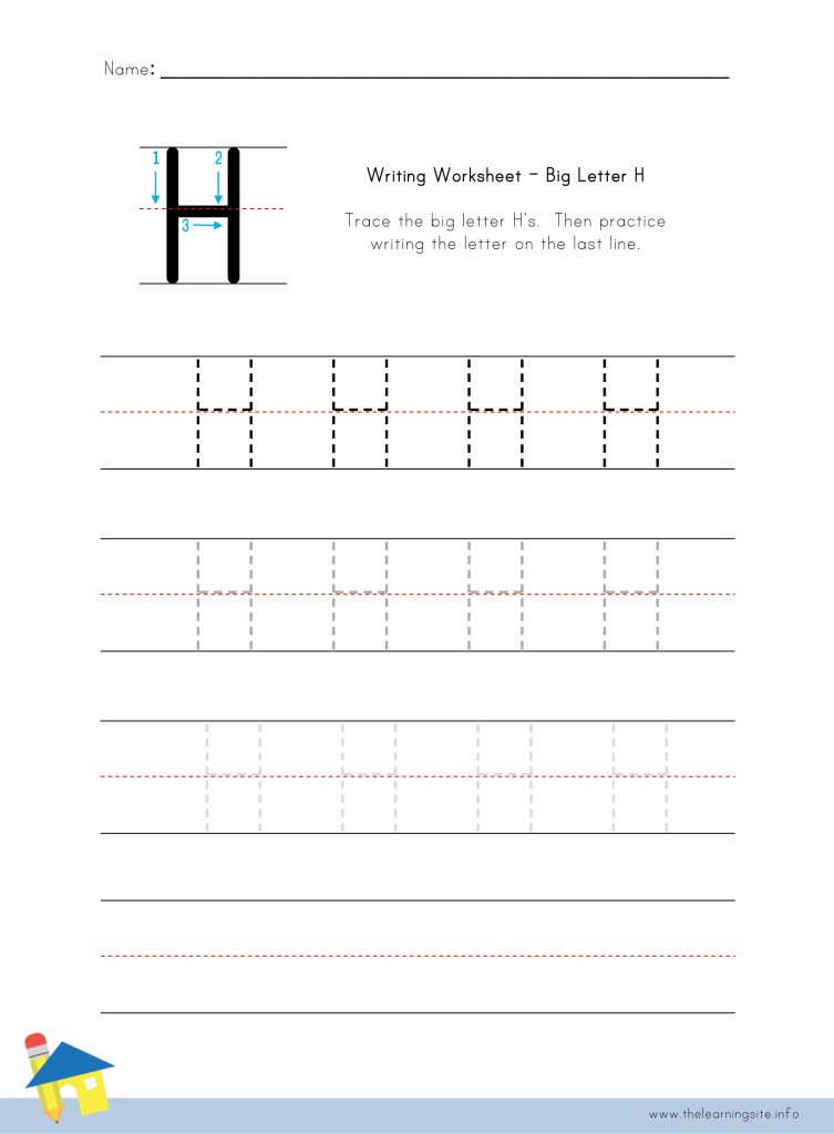 Big Letter H Writing Worksheet