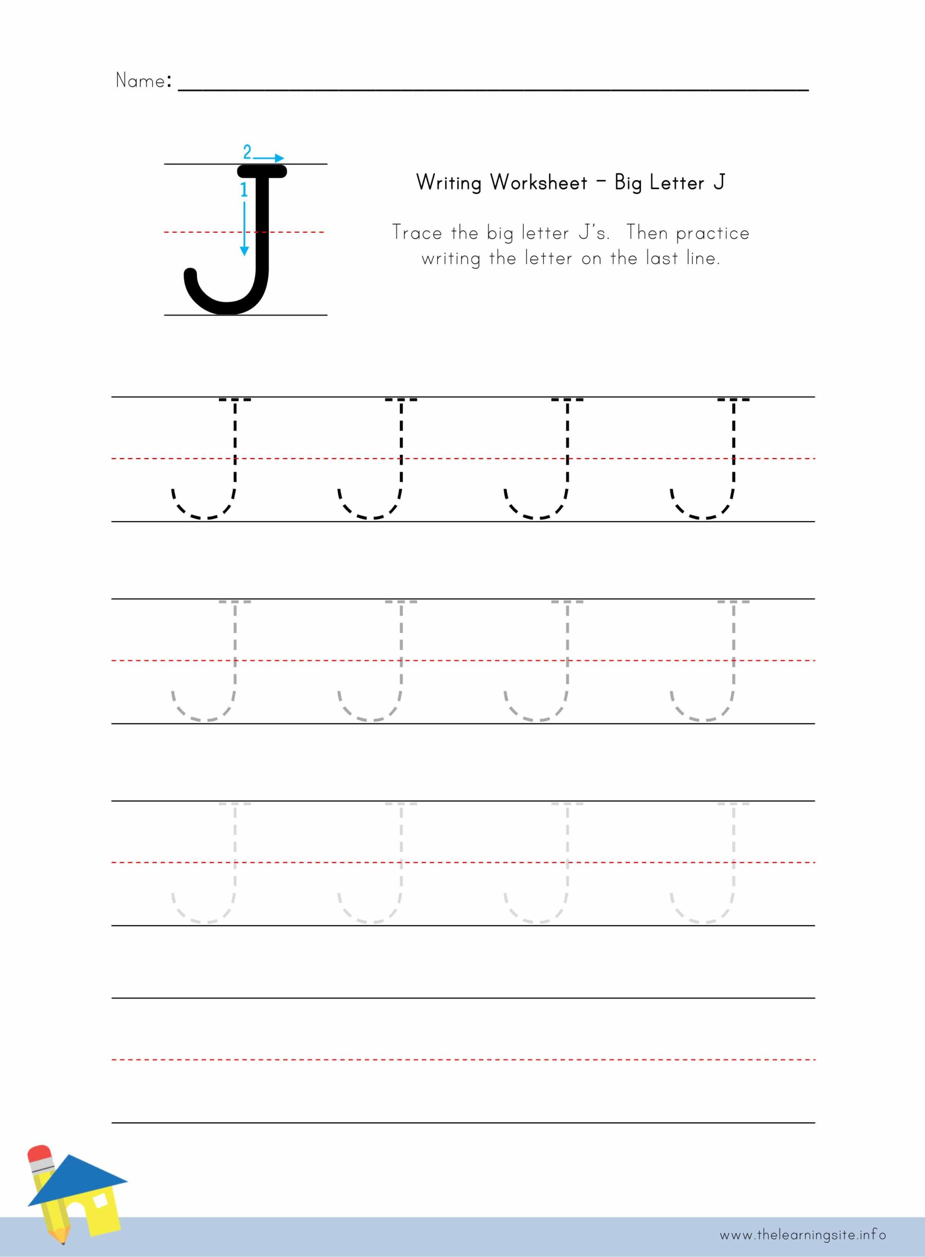 - Big Letter J Writing Worksheet – The Learning Site