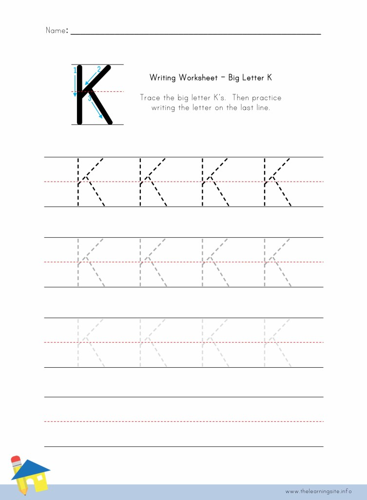 Big Letter K Writing Worksheet