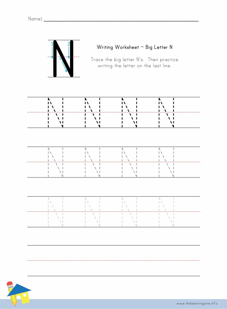 Big Letter N Writing Worksheet