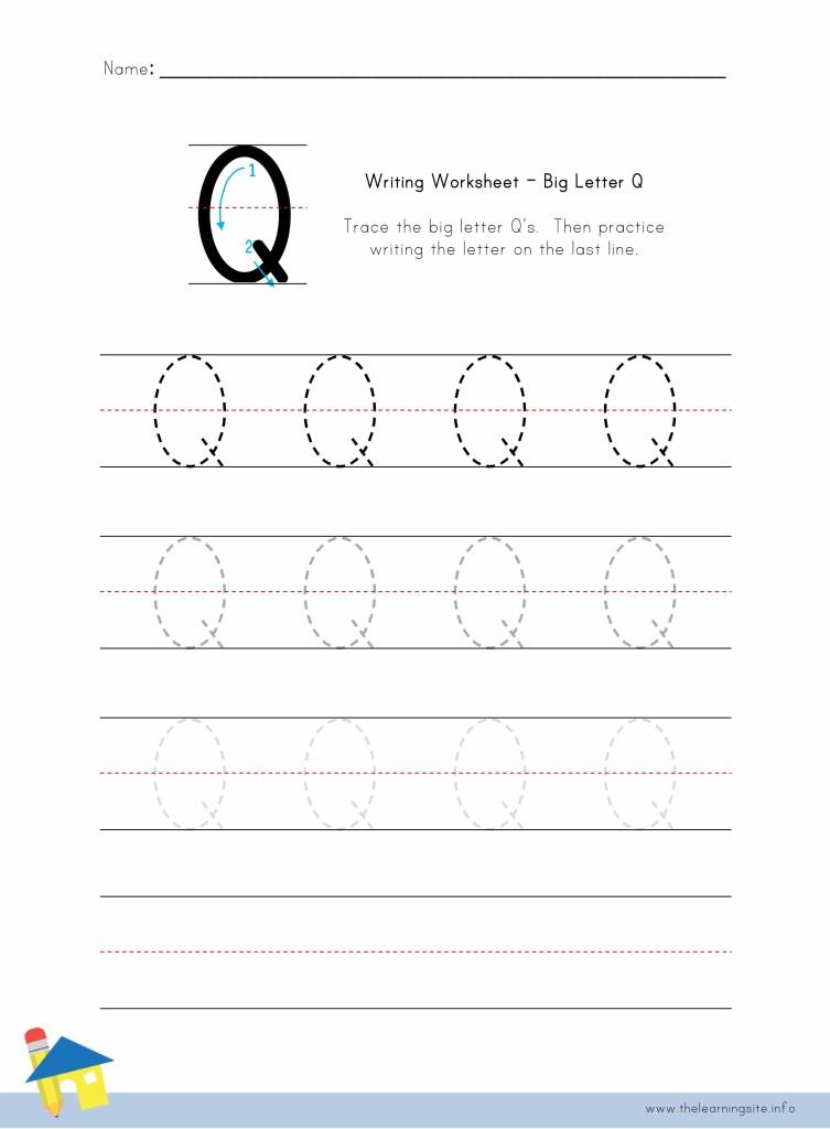 Big Letter Q Writing Worksheet