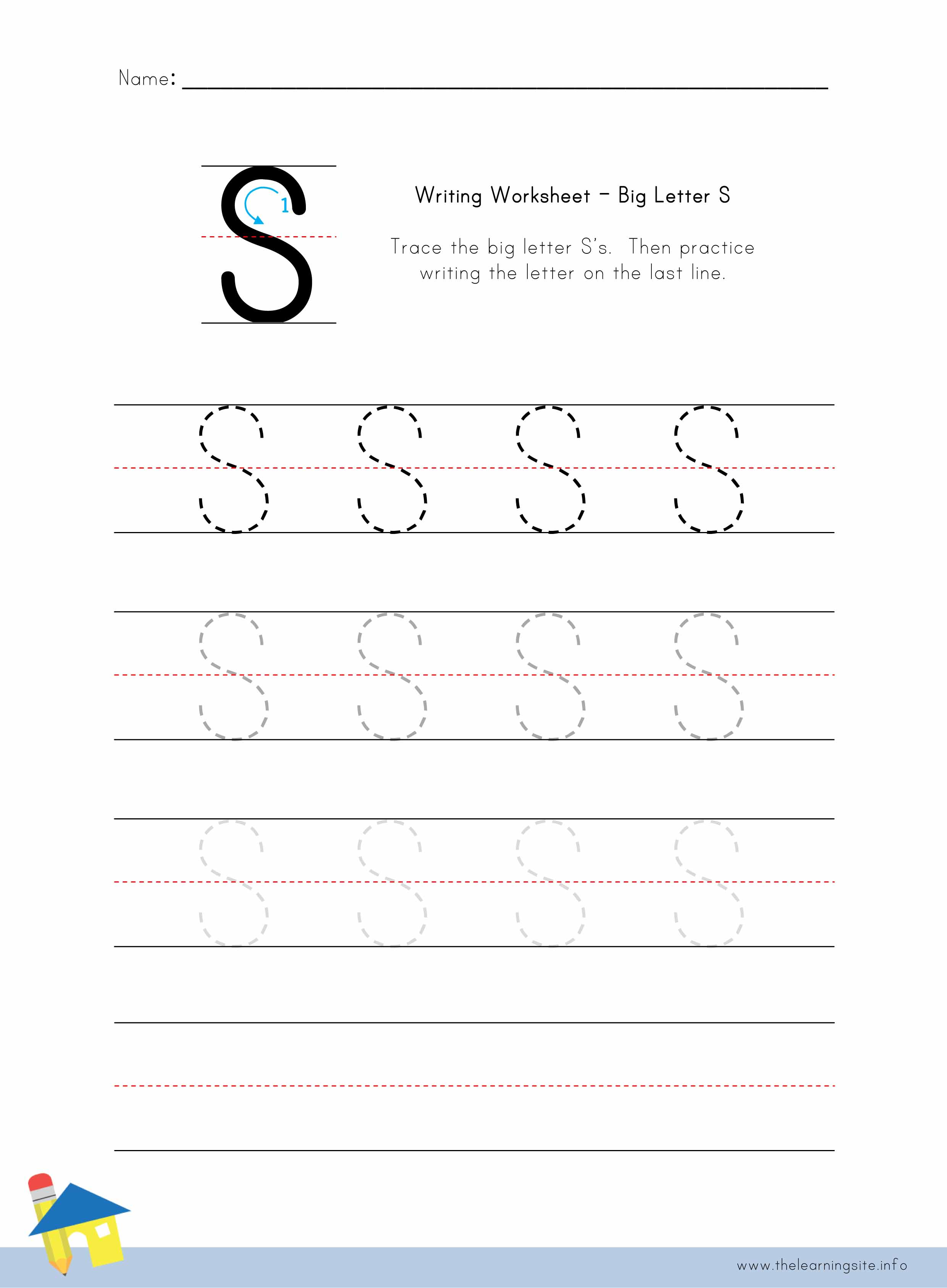 Worksheet Writing The Letter S the learning site big letter s writing worksheet