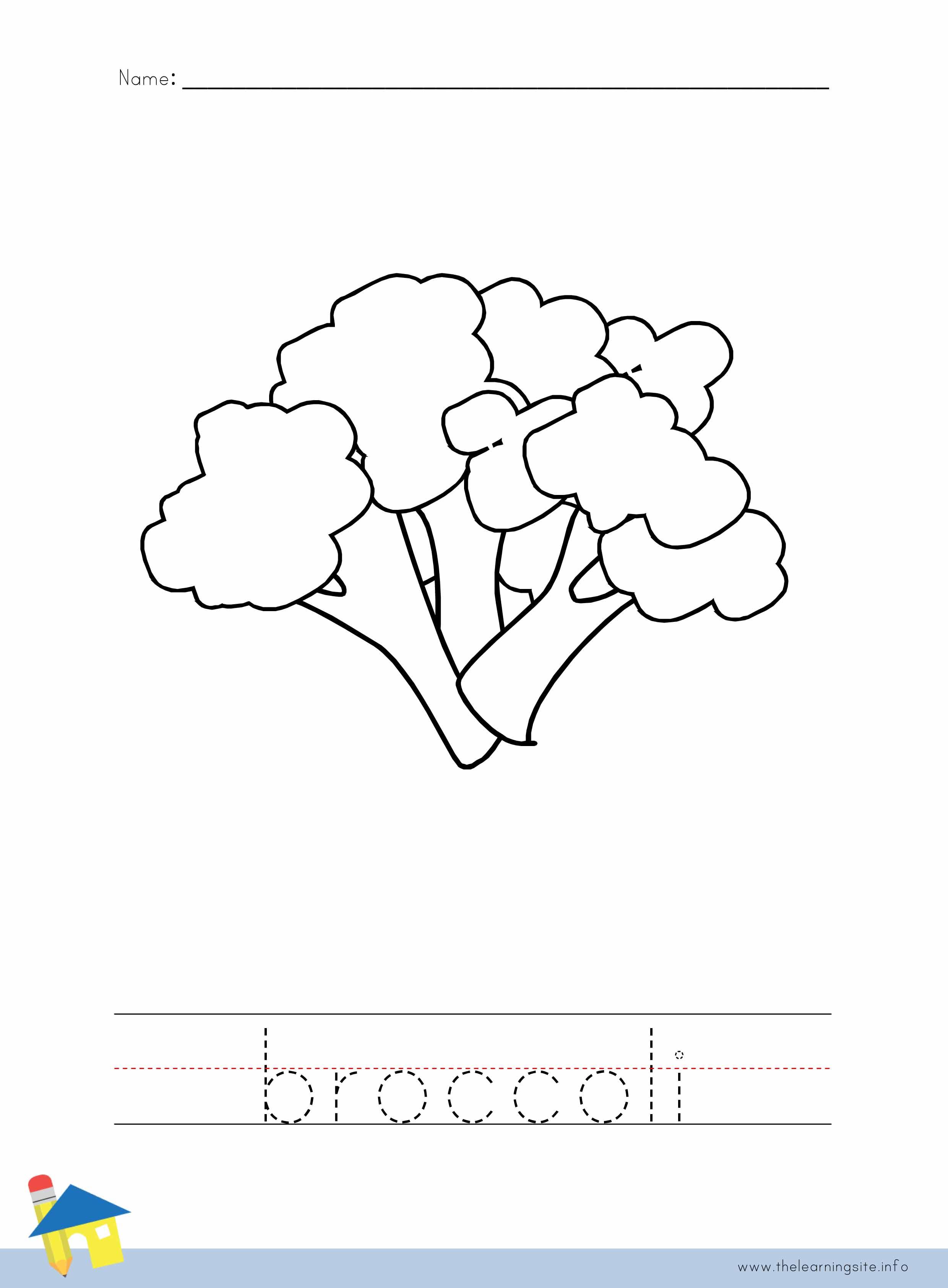 Broccoli Coloring Worksheet
