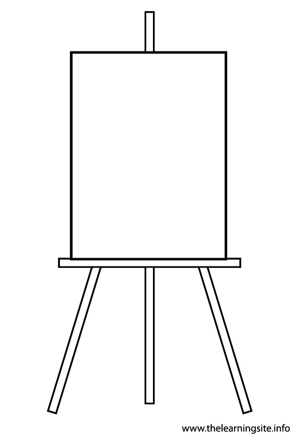 coloring-page-outline-art-materials-easel-with-blank-canvas