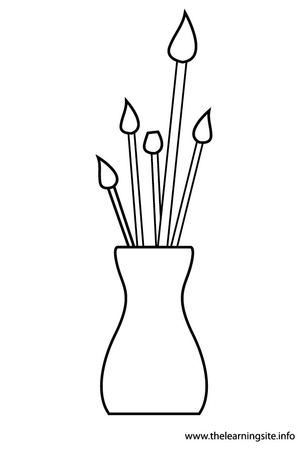 coloring-page-outline-art-materials-paint brushes-in-vase
