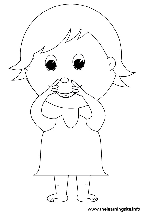 coloring-page-outline-body-parts-kid-point-to-nose