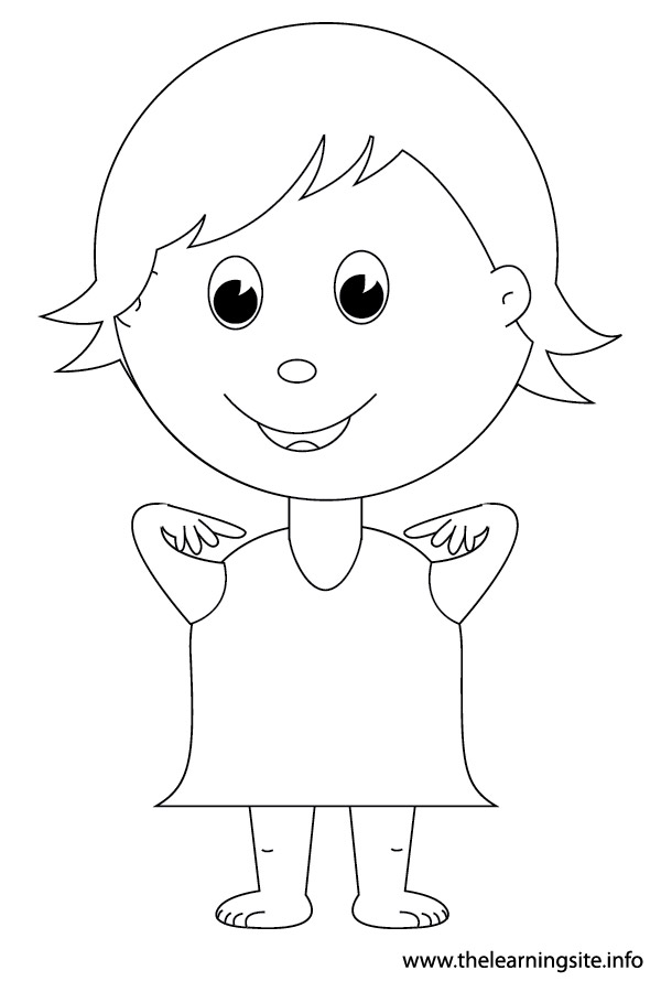 coloring-page-outline-body-parts-kid-point-to-shoulders