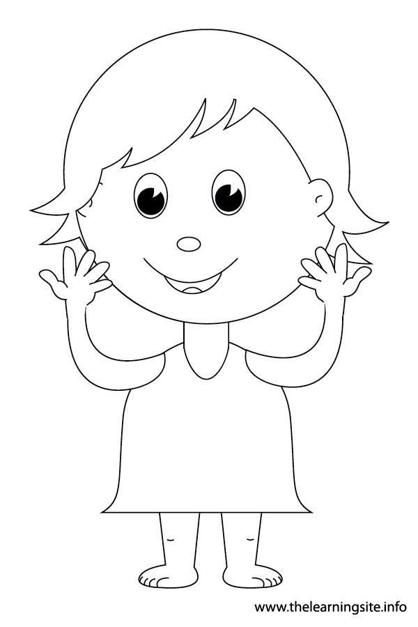 coloring-page-outline-body-parts-kid-pointing-showing-hands