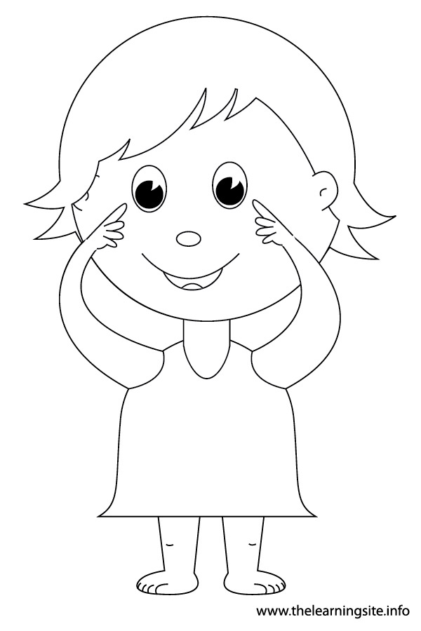 coloring-page-outline-body-parts-kid-pointing-to-eyes