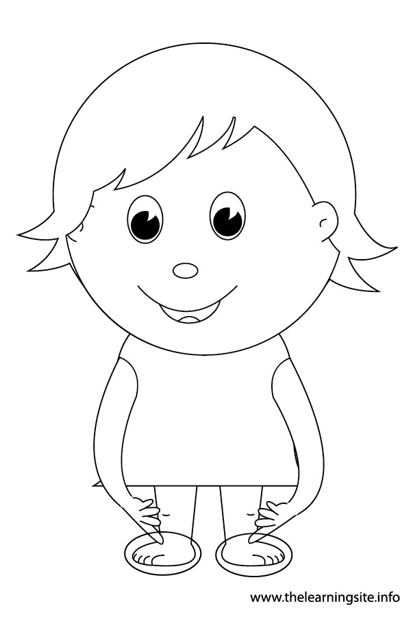 Coloring Page Outline Body Parts Kid Pointing To