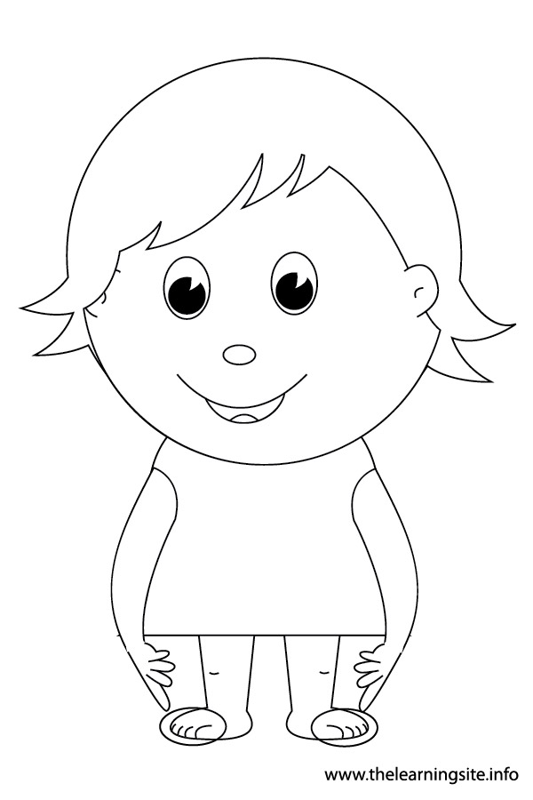 coloring-page-outline-body-parts-kid-pointing-to-her-toes