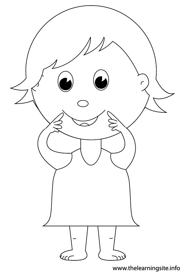 coloring-page-outline-body-parts-kid-pointing-to-mouth