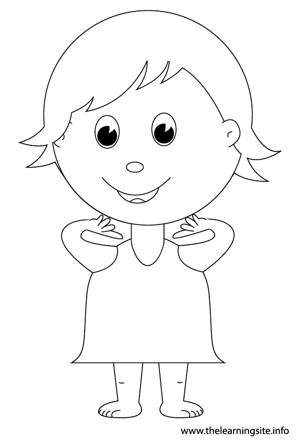 coloring-page-outline-body-parts-kid-pointing-to-neck