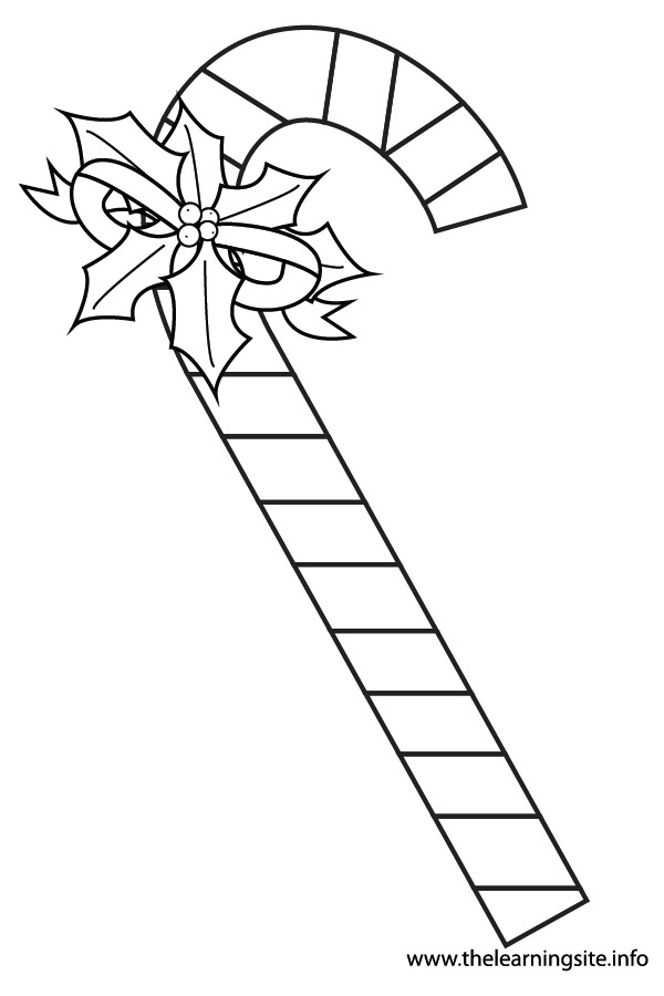 coloring-page-outline-christmas-candycane-with-holly