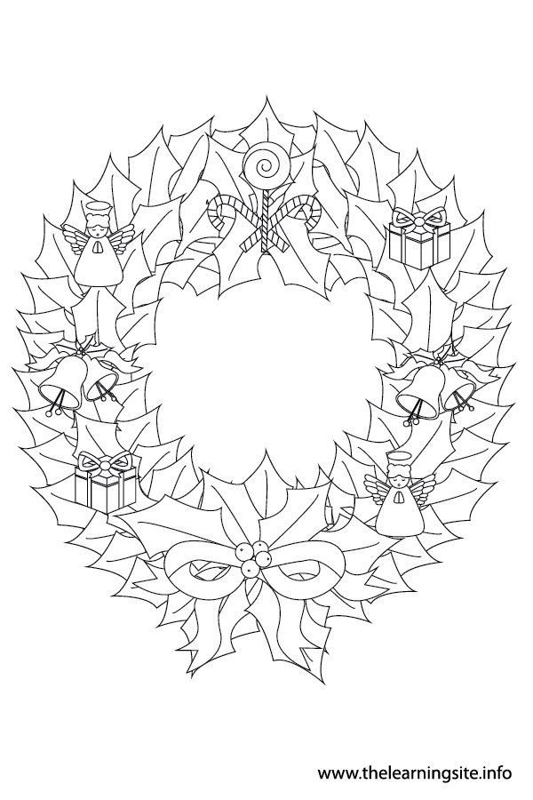 coloring-page-outline-christmas wreath