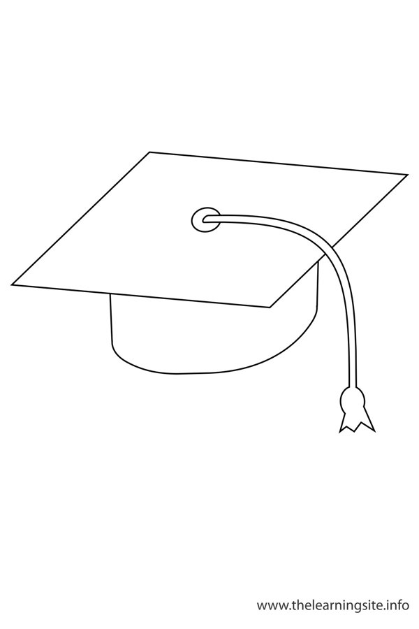 coloring-page-outline-graduation-cap-black