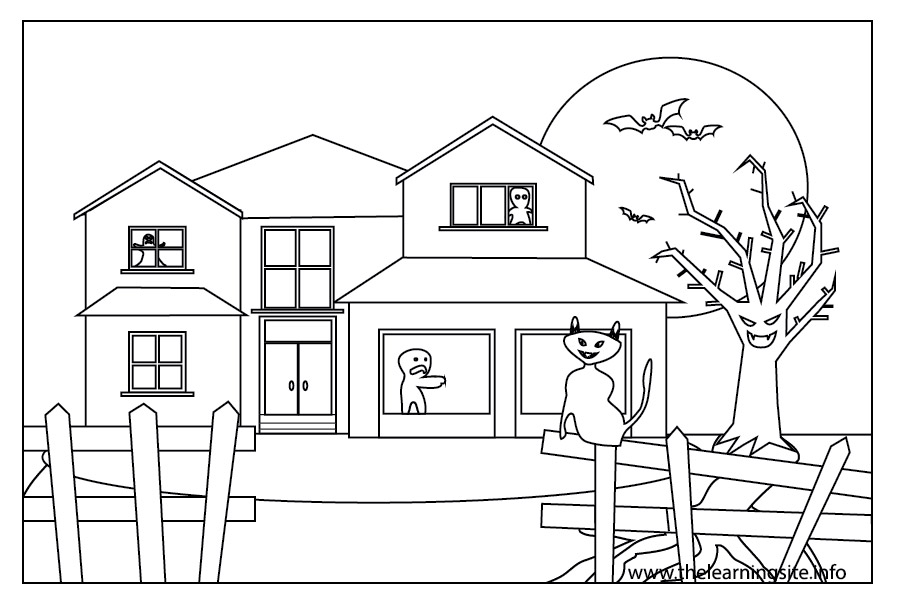 coloring-page-outline-halloween-haunted-house