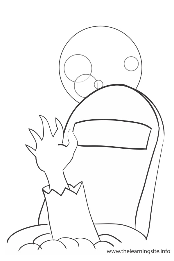 coloring page outline halloween zombie hand