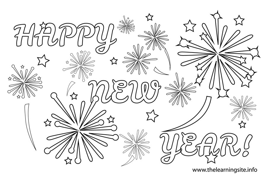 coloring-page-outline-happy-new-year-and-fireworks