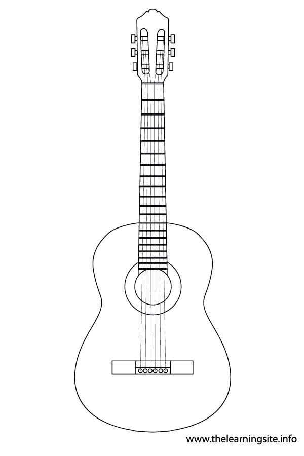 coloring-page-outline- musical-instrument acoustic-guitar