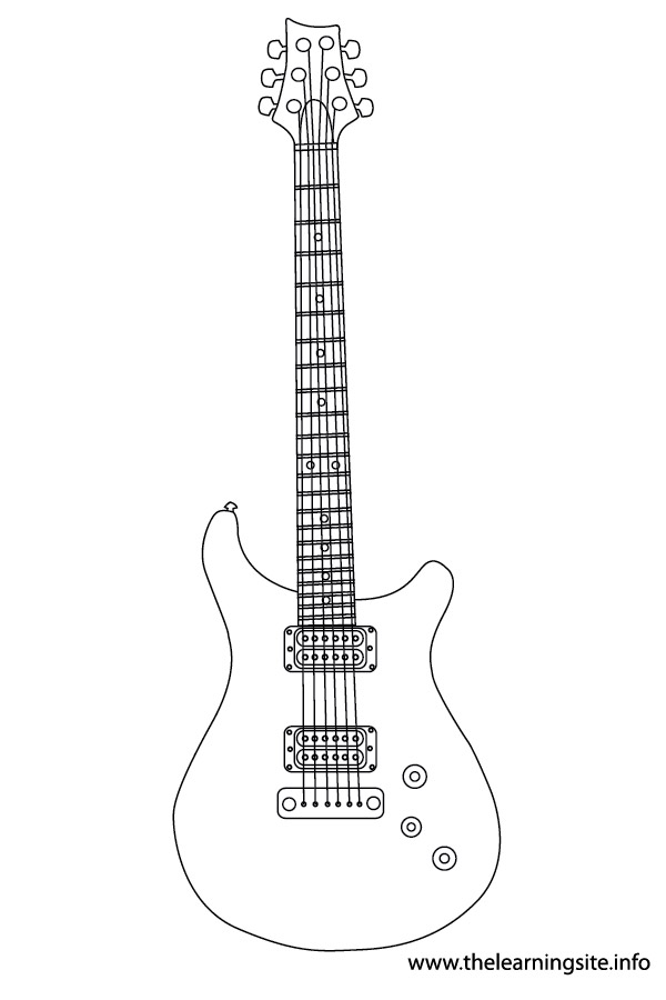 coloring-page-outline- musical-instrument-electric-guitar