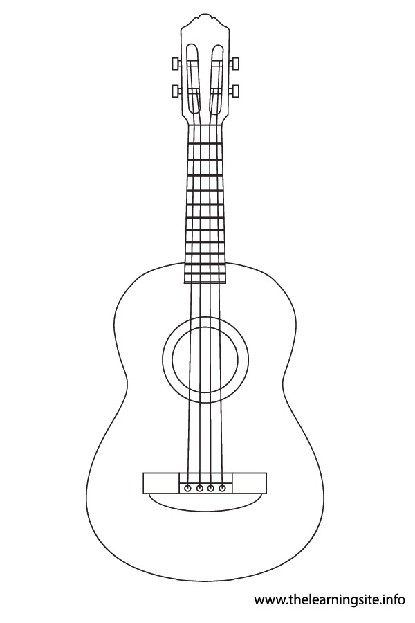 coloring-page-outline-musical-instrument ukulele