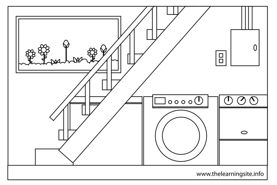coloring-page-outline-parts-of-a-house-basement
