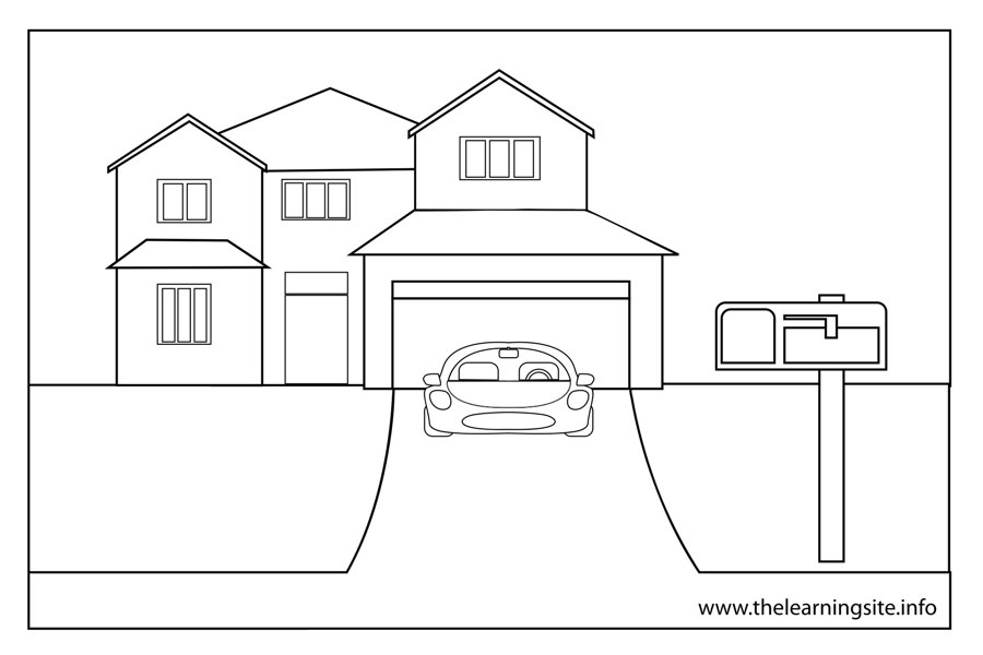 coloring-page-outline-parts-of-a-house-driveway