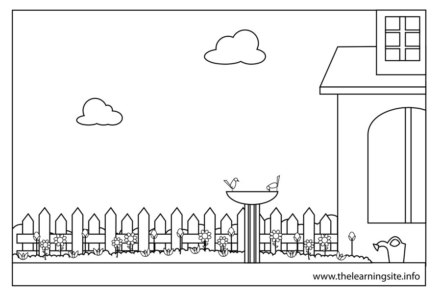 coloring-page-outline-parts-of-a-house-garden