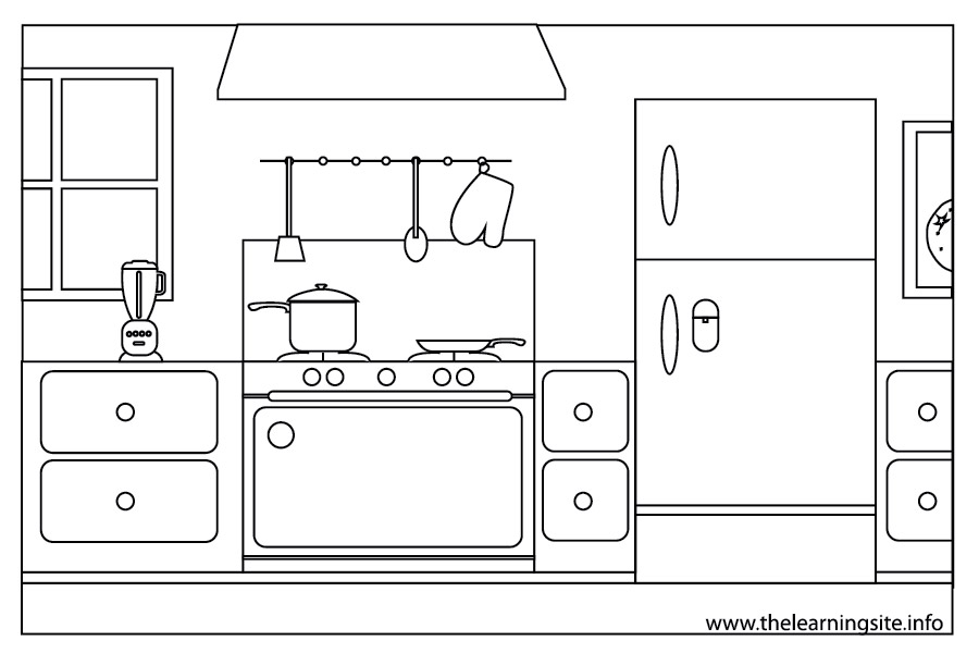 Coloring Page Outline Parts Of A House Kitchen