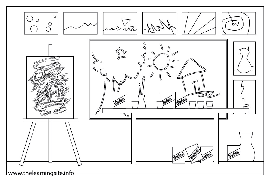 coloring-page-outline-parts-of-a-school-art room