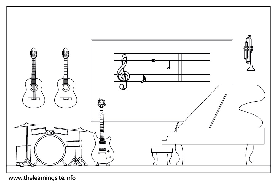 coloring-page-outline-parts-of-a-school music-room