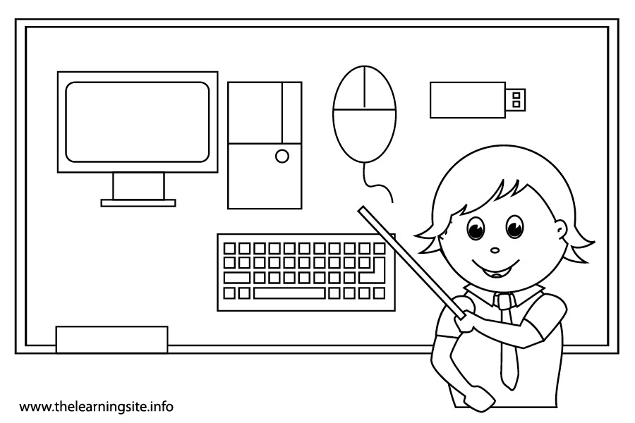 coloring-page-outline-school-subjects-computer