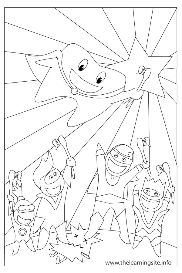 coloring-page-outline-supertooth-and-friends