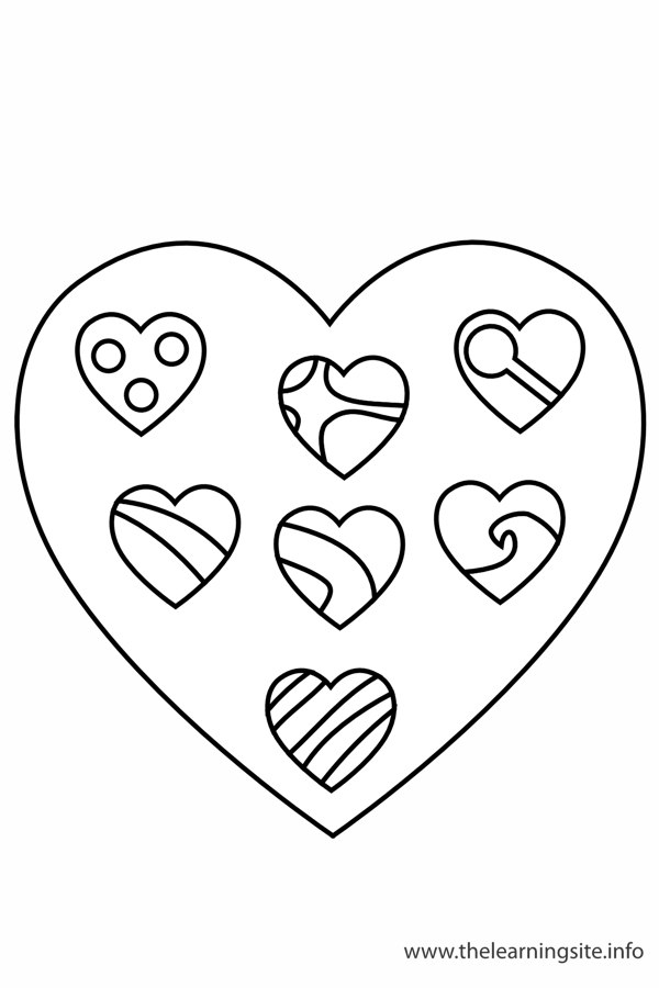 Coloring Page Outline Valentinesday Chocolate Candy Hearts