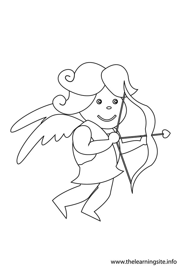 coloring-page-outline-valentinesday-cupid-aiming