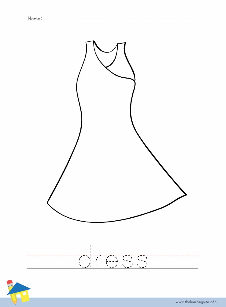 Dress Coloring Page Outline
