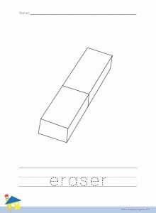 Eraser Coloring Worksheet
